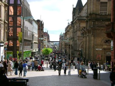 Buchanan Street in Glasgow, Scotland. From en.wikipedia.org/wiki/File:%28looking_down%29_Buchannan_Street,_Glasgow.jpg.