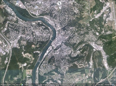 Morgantown, West Virginia aerial. From Google Earth.