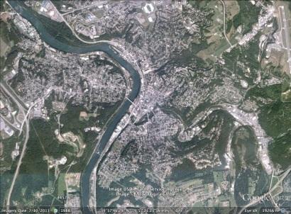 Morgantown, West Virginia aerial. From Google Earth.