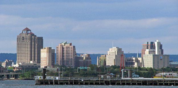New Haven, Connecticut skyline. From en.wikipedia.org/wiki/File:Nhskyline_eastshore.jpg.