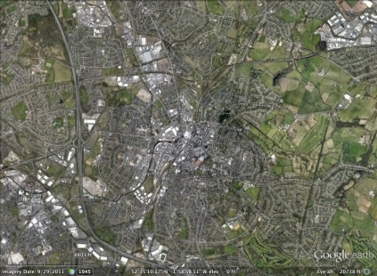 Walsall, England aerial. From Google Earth.